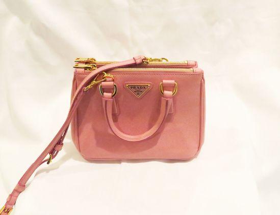 Prada Saffiano Lux Mini Double Zip Tote-Pink