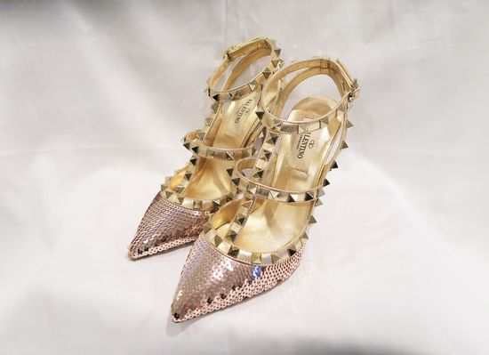 Valentino Rose Gold Garavani Rockstud Sequined Leather Ankle Strap Pumps (size 36)