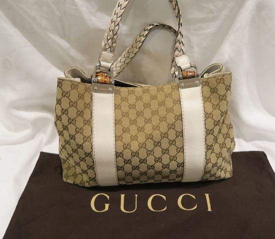 Gucci Signature Print Handbag w/White Leather Strap Style 19622564