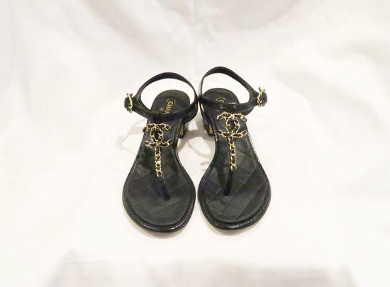 Chanel T-Strap Sandals w/CC Chain, Black w/Gold Embellishments, (size 35.5)