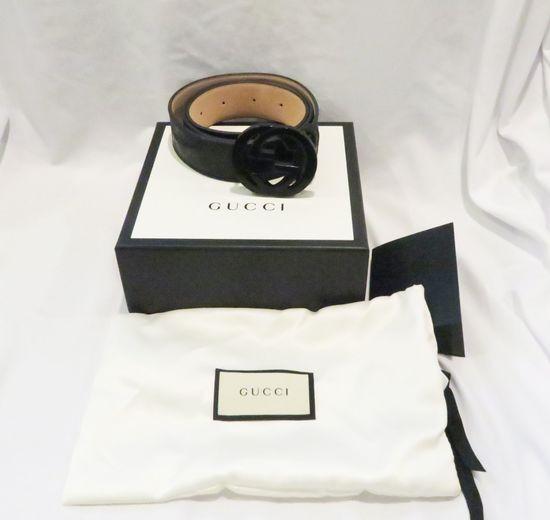 Gucci Black Leather Belt with black interlocking Gucci GG logo buckle, box, dust bag, size 44