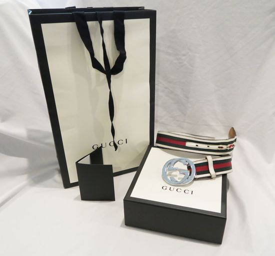 Gucci Belt, interlocking GG silver-tone buckler, white leather, green/red canvas, worn, with Gucci b