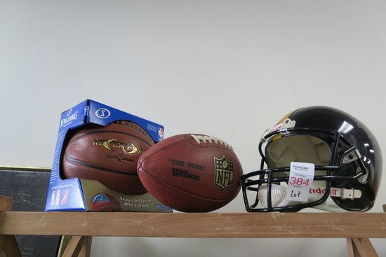 Lot Basketball, Football, Steelers Helmet 1995 Pro Bowl Autographed by Duval Love