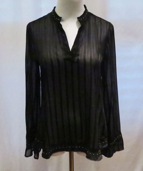 Zara Black w/Silver Stud Embellishment Long-Sleeved Top, size XS, new with tags