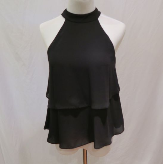Zara Black High Neck Sleeveless Top, size XS, new with tags