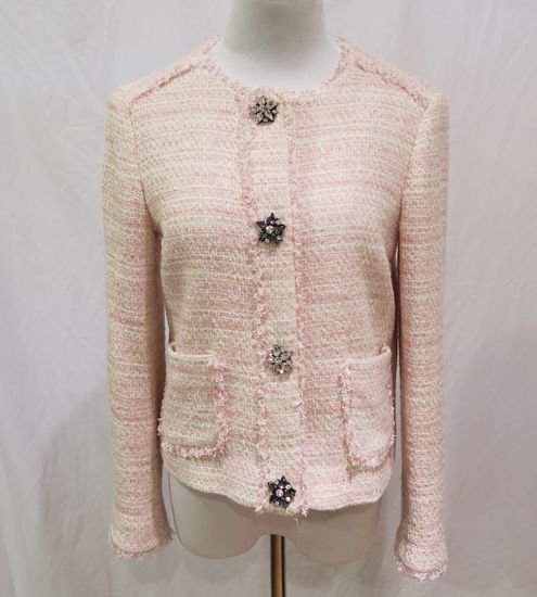 Zara Pink Plaid Jacket w/Jeweled Buttons, size S, worn