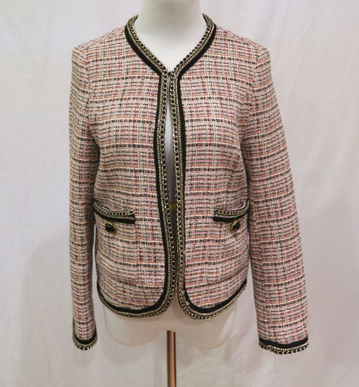Zara Pink Plaid Blazer w/Gold Chain Embellishment, size S, worn