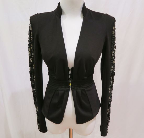 Bebe Black Blazer w/Embellished Sleeves, size 0, worn