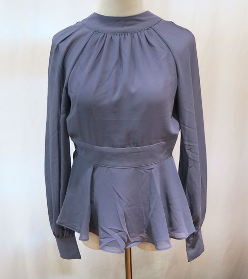 Bebe Blue Gathered Neck Top w/Open Back, Long-Sleeved, size 00, new with tags