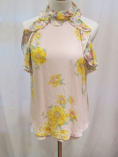 Zara Pink/Floral Print Sleeveless Top, size XS, new with tags