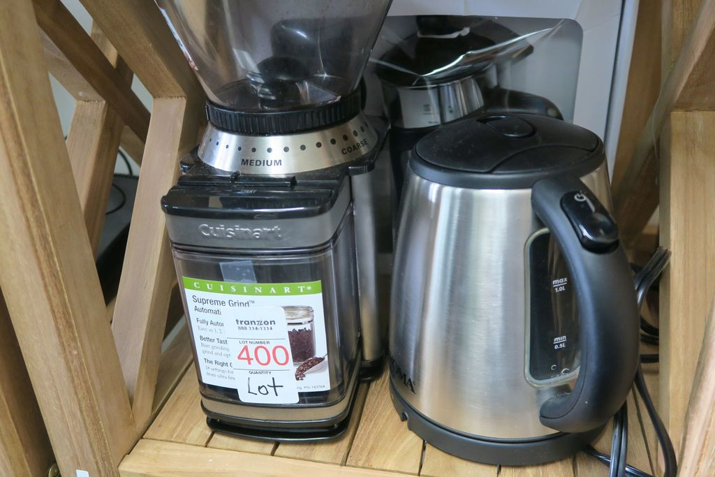 Lot Cuisinart Coffee Grinder, French Press and Electric Tea Kettle