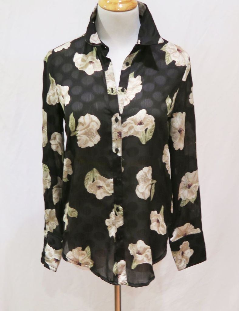 Zara Black Floral Print Long-Sleeved Blouse, size XS, new with tags