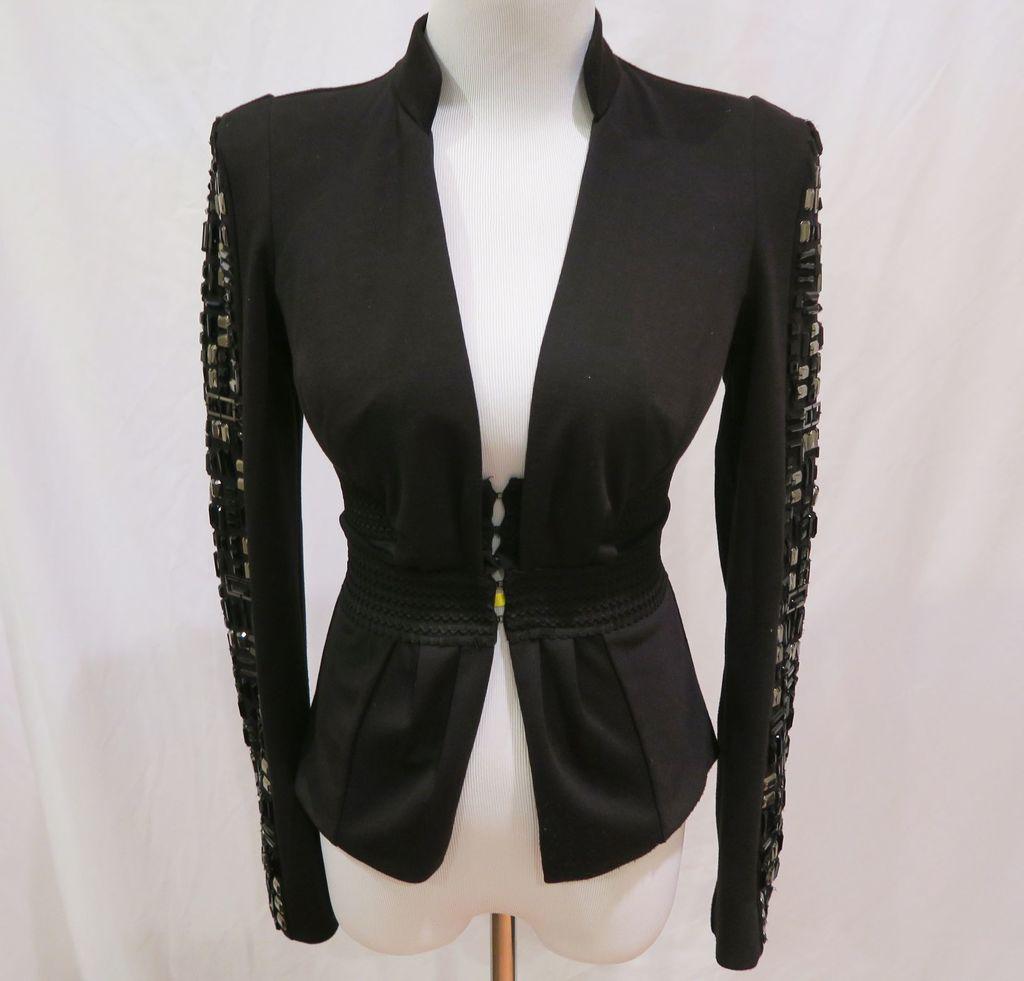 Bebe Black Blazer w/Embellished Sleeves, size 0, worn