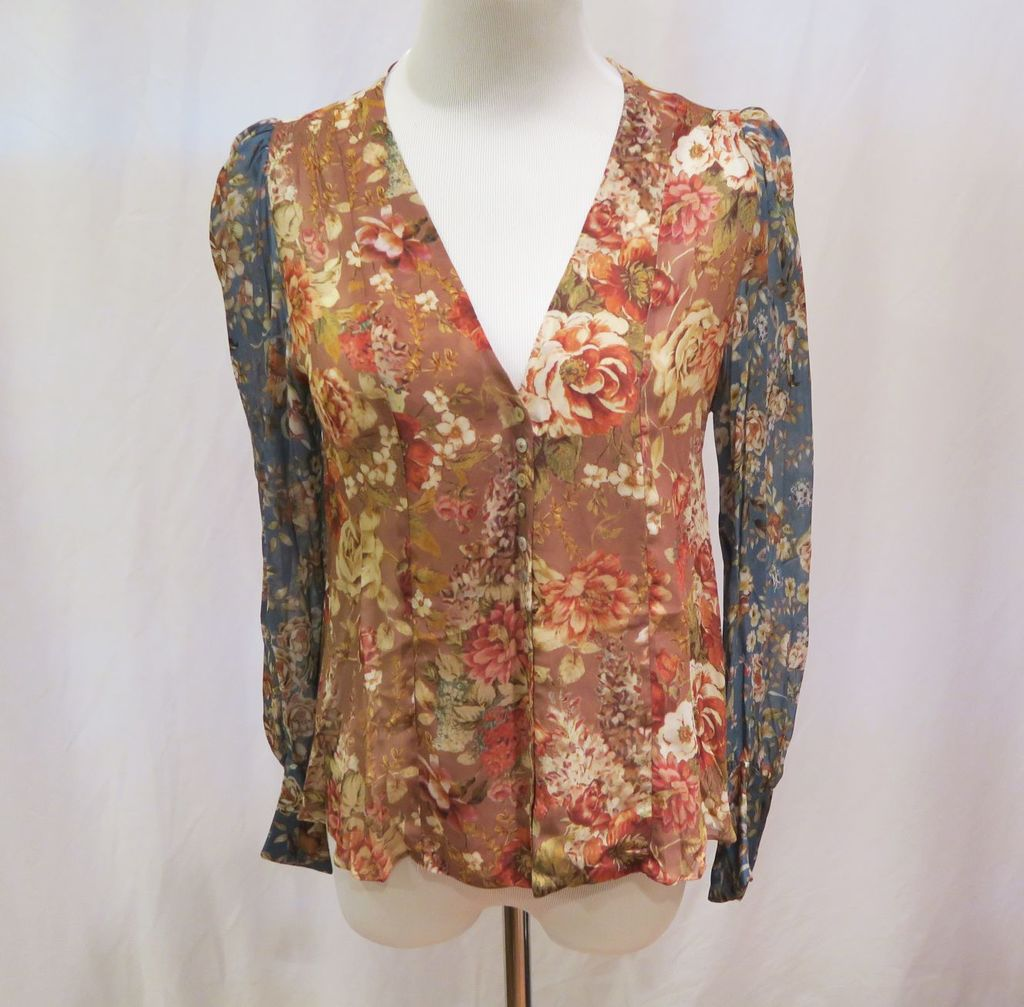 Zara Floral Print Long Sleeve Top, size XS, new with tags