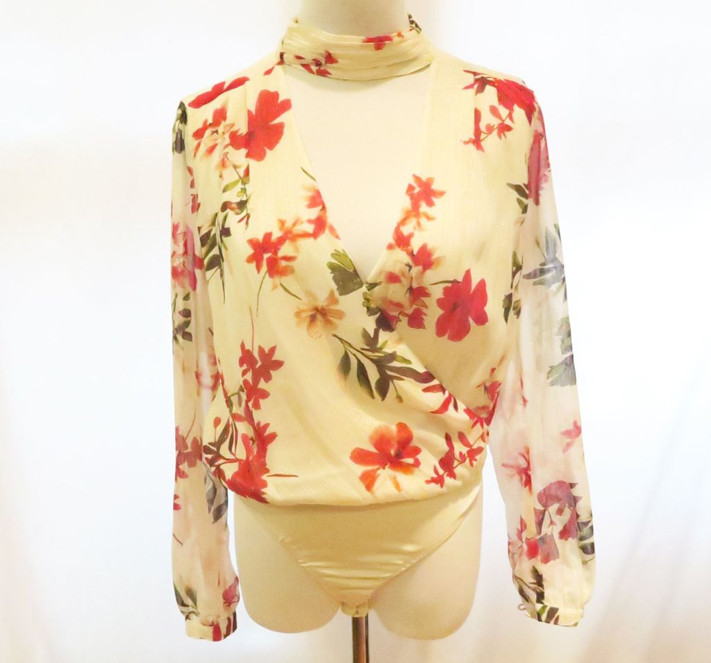 Guess Red/White Floral Print Bodysuit, size XS, new with tags