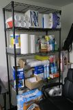 Lot Wire Shelf with Assorted Cleaning and Breakroom Supplies