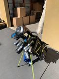 Golf Clubs: Maxfli Gray and Green Golf Bag with Titleist 915d Driver, Ping 5 Wood, Ping Hybrid 2, Pi