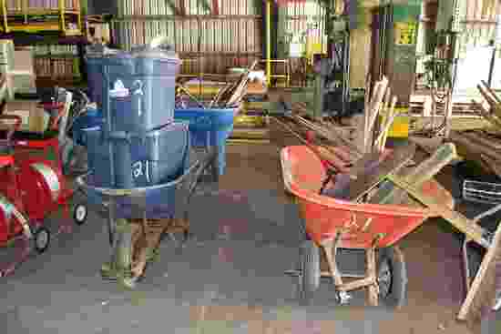 (2) WHEEL BARRELS & CLEAN UP TOOLS
