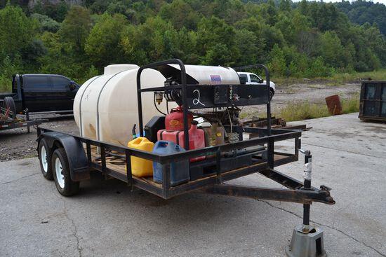 """PORTABLE PRESSURE WASHER W/ HOT WATER W/ VAN GUARD GAS ENGINE W/ WATER TANK W/ TANDEM AXLE TRAILER"