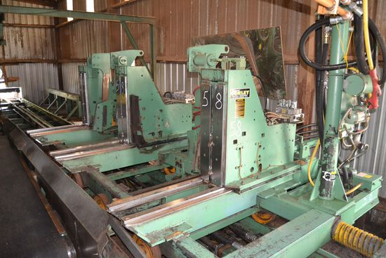 "CORLEY 48"" LEFT HAND LP 3 HEAD BLOCK CARRIAGE W/ ON BOARD TURNERS W/ SCANNER SYSTEM W/ 20HP HYDRUALI"
