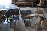 2 WHEEL BARRELS & CLEAN UP TOOLS