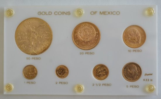 Seven Piece Mexican Gold Coin Set