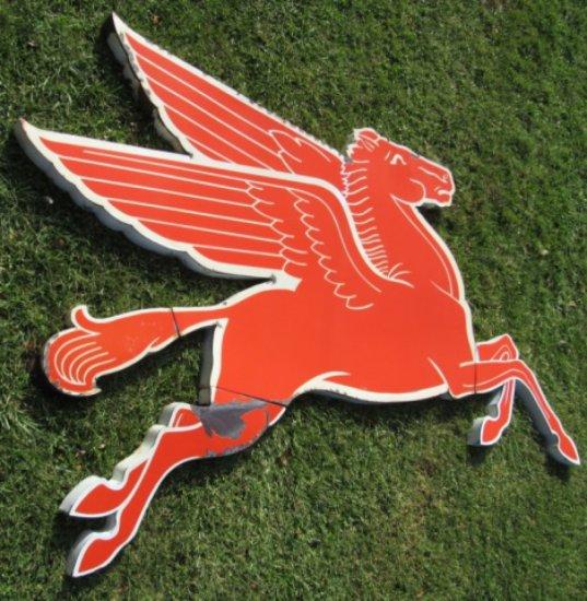 Right Facing Mobil Pegasus Porcelain Diecut Sign