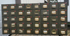 Vintage card catalog cabinet, some drawers full