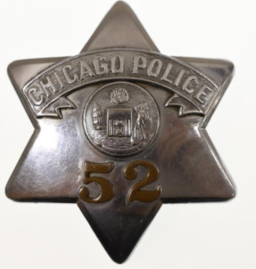 Obsolete Early Chicago Police Pie Plate Badge #52