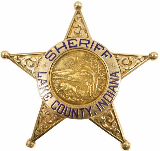 14K Gold Lee B. Clayton Lake County Sheriff Badge