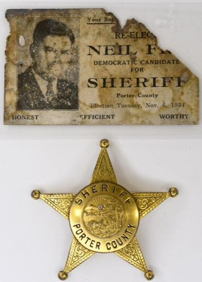 Porter Co. Sheriff Badge w/ Dillinger Connection