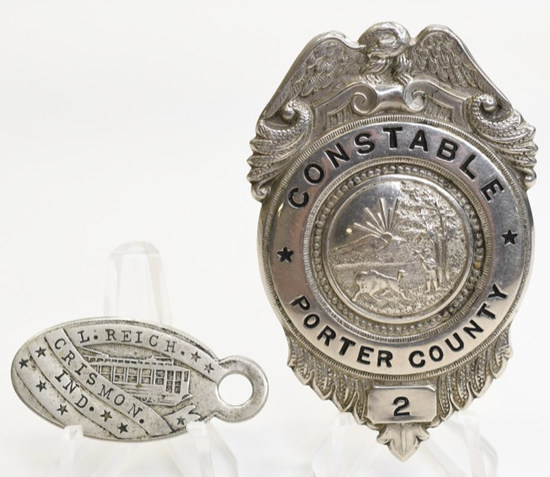 Obsolete Porter County Named Badge & Key Tag