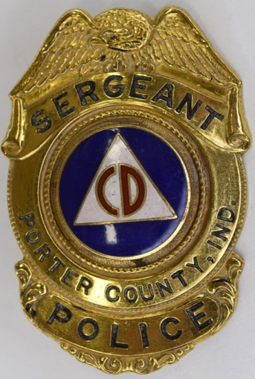 Obsolete Porter County CD Police Sergeant Badge