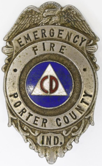 Obsolete Porter County CD Fire Emergency Badge