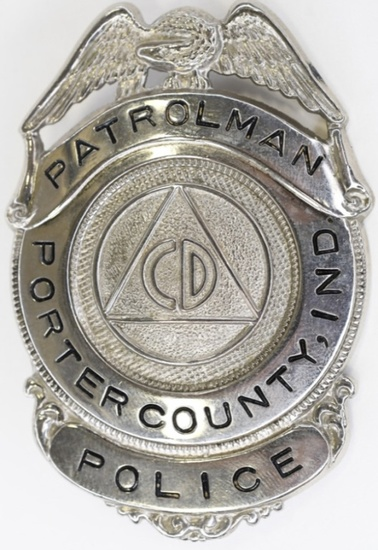 Obsolete Porter County CD Police Patrolman Badge