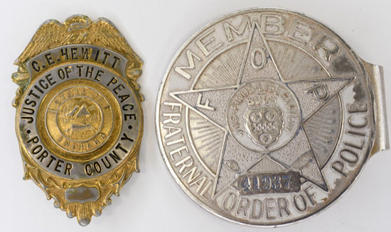 Early Obsolete C.E Hewitt  Porter County Badge Lot