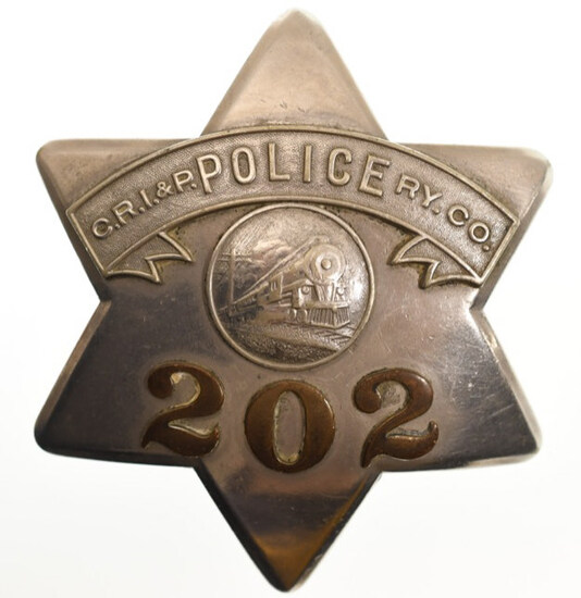 Obsolete C.R. I & P Railway Police Pie Plate Badge
