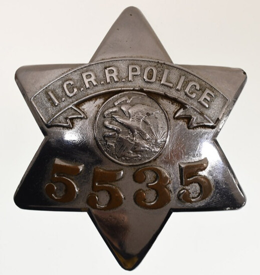 Obsolete I.C. R. R Railroad Police Pie Plate Badge
