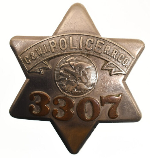 Obsolete C&W.I. R.R. Co. Police Pie Plate Badge