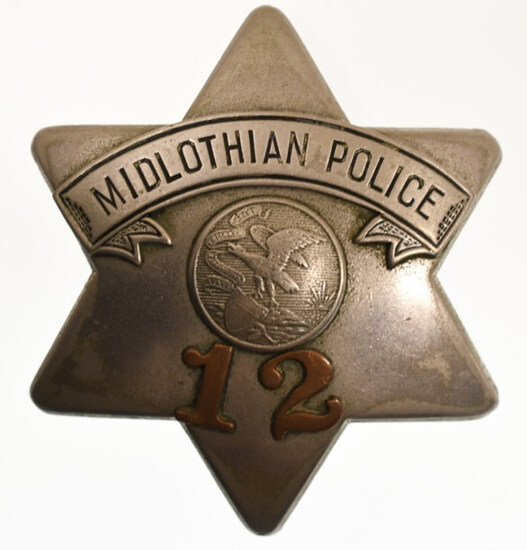 Obsolete Midlothian Police Pie Plate Badge No. 12