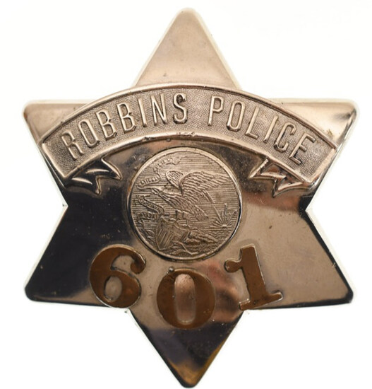 Obsolete Robbins Police Pie Plate Badge No. 601