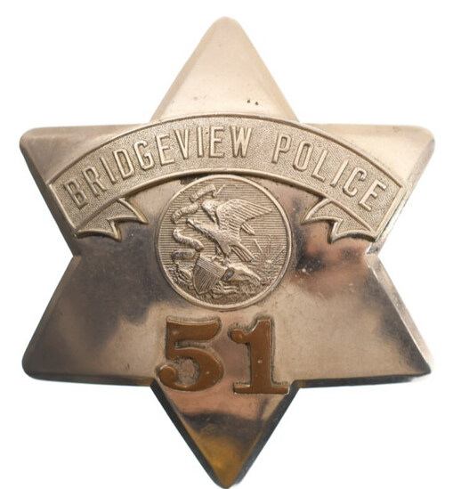 Obsolete Bridgeview Police Pie Plate Badge No.51