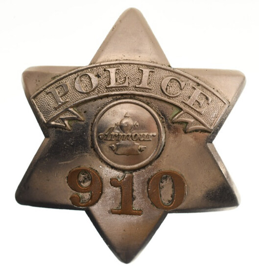 Early Obsolete Armour Police Pie Plate Badge #910