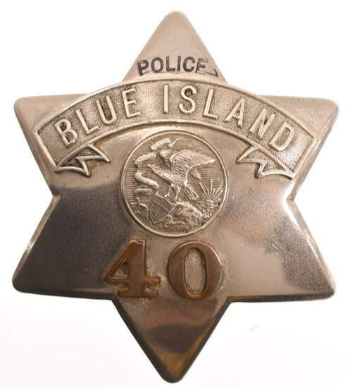 Early Obsolete Blue Island Police Pie Plate Badge