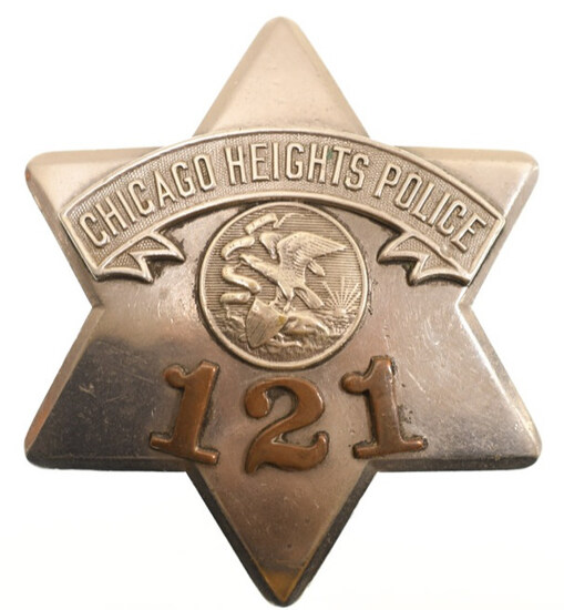 Obsolete Chicago Heights Police Pie Plate Badge