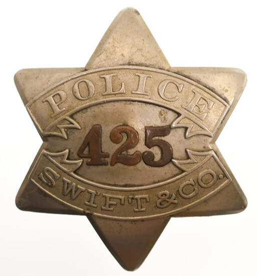 Early Swift & Co. Police Pie Plate Badge No.425