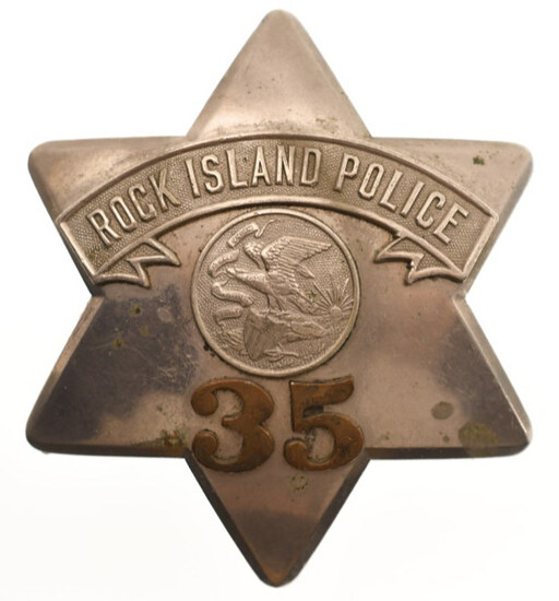 Early Obsolete Rock Island Police Pie Plate Badge