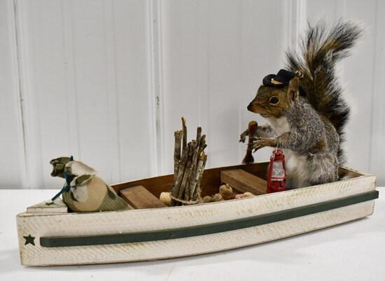 Full Body Grey Squirrel Mount In Boat