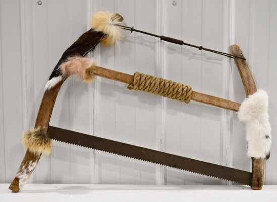 Vintage Bow Saw Wrapped In Rope & Fur