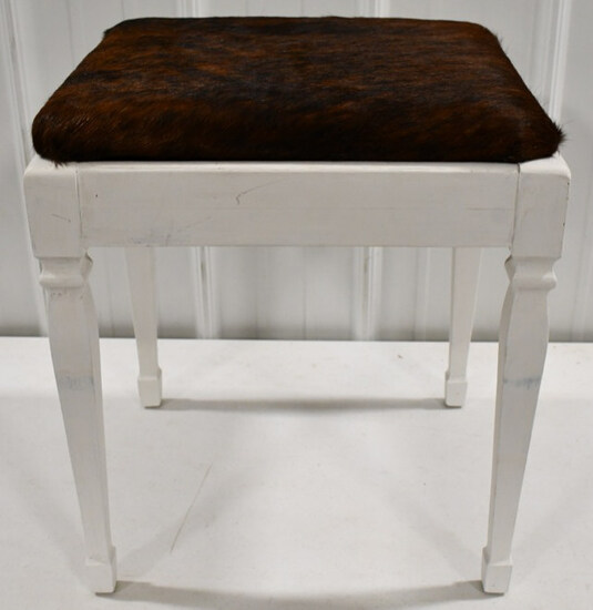Wood Stool With Cowhide Seat & Storage Compartment